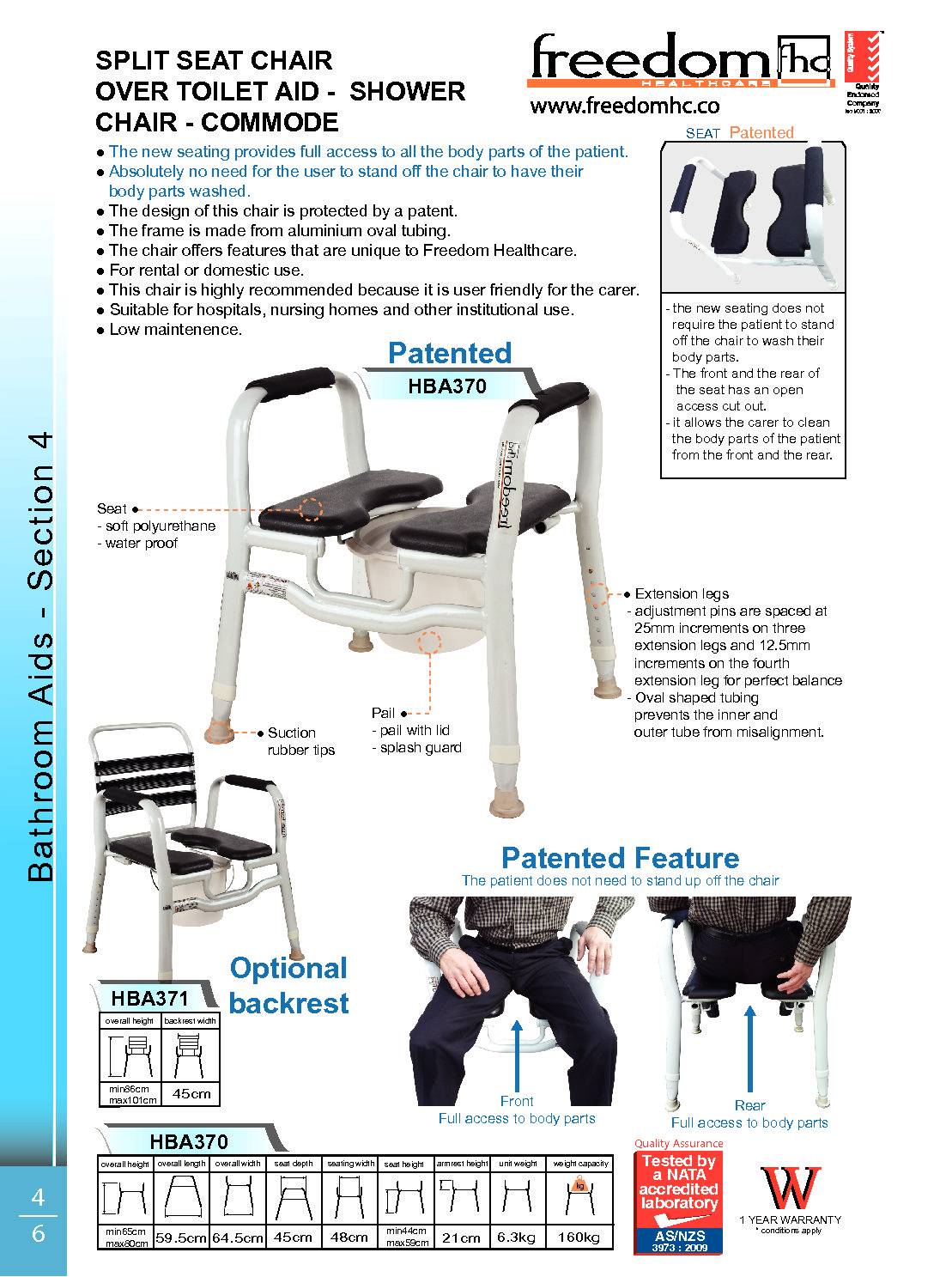 3 in 1 Over Toilet Aid, Shower chair, Commode - Balance Mobility